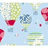 York Wallcoverings YS9193SMP Peek-A-Boo Hot Air Balloon 8-Inch x 10-Inch Memo Sample Wallpaper, Powder Blue/Red/Lime Green/Teal/Yellow/White