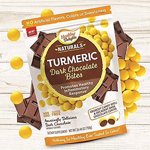 Healthy Delights Naturals, Turmeric Dark Chocolate Bites, Non-GMO, Gluten Free, 8.82 oz. (12 Count)