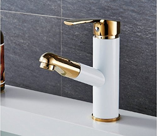 Diongrdk Pull Out Bathroom Basin Faucet Single Hole Cold and Hot Water Deck Mounted Tap Basin Faucet Mixer Taps