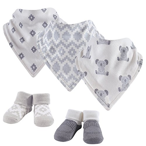 Hudson Baby Baby Bandana Bib and Socks Set, 5 Piece, Kohala, 0-9 Months