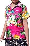 Raan Pah Muang RaanPahMuang Childrens Hawaiian Shirt In Summer Printed Rayon Seaside Beach Fun, 10-12 Years, Pink Sunglasses