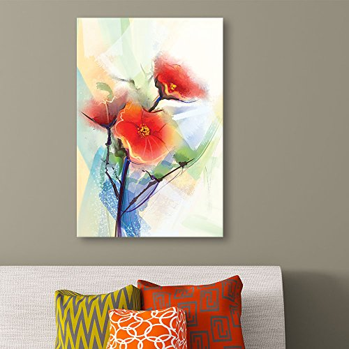Watercolor Style Abstract Red Flowers