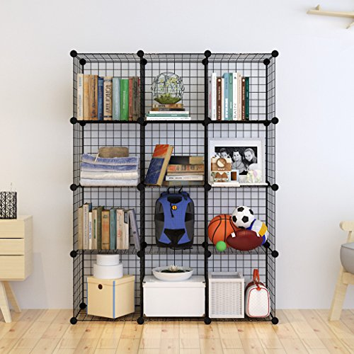 Tespo Metal Wire Storage Cubes, Modular Shelving Grids, DIY Closet Organization System, Bookcase, Cabinet, (12 - Regular Cube.) (Bookcase Cabinets)
