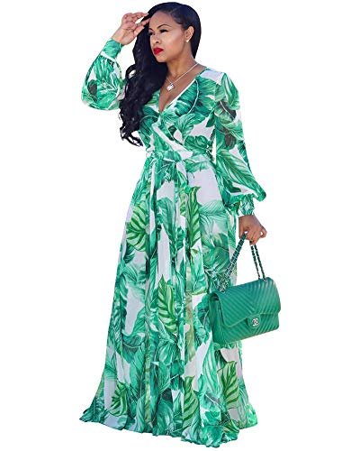 - Halfword Women's Summer Long Maxi Dresses - Floral Printed V Neck Long Sleeve Wrap Boho Dreses Green