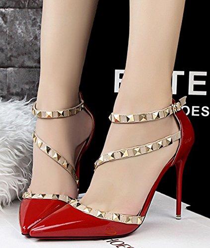 Rotation Heels Femme Filles Casual Boucle Chaussures Minetom Stiletto Fête Pumps Hauts Été Talons Escarpins Rouge Rivet Pointed Toe High znOTIqnwx