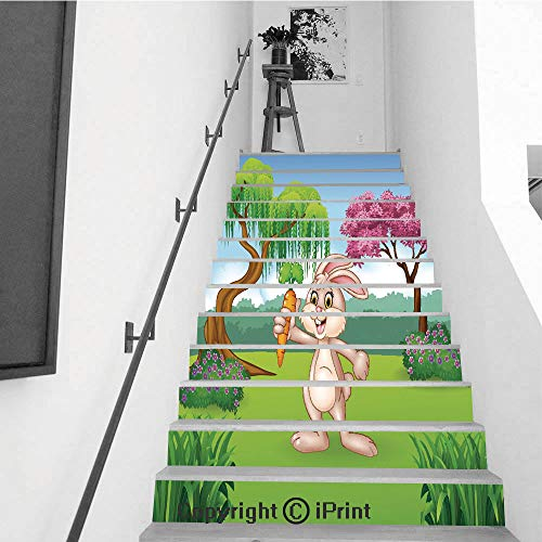 baihemiya stickers 13Pcs Stair Sticker Decals 3D Creative Building Stair Risers Tiles Wallpaper Mural Self-Adhesive,Cute Bunny Holding Carrot in The Jungle