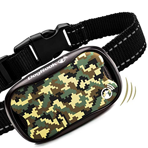 DogRook Khaki Dog Bark Control Collar - Humane Bark Collar Large Medium Small Dogs - Vibration No Shock Collar - Stop Dog Barking Collar and Best No Bark Collars Anti Barking Dog Collar