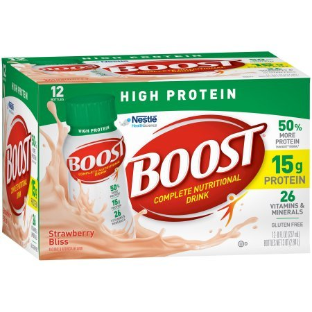 Boost High Protein Complete Nutritional Drink, Strawberry Bliss, 8 fl oz Bottle,12 Count (Pack of 6) by Boost Nutritional Drinks