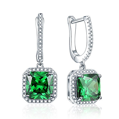 7.85Ct Green Emerald Leverback Dangle Earrings with Halo Cubic Zirconia
