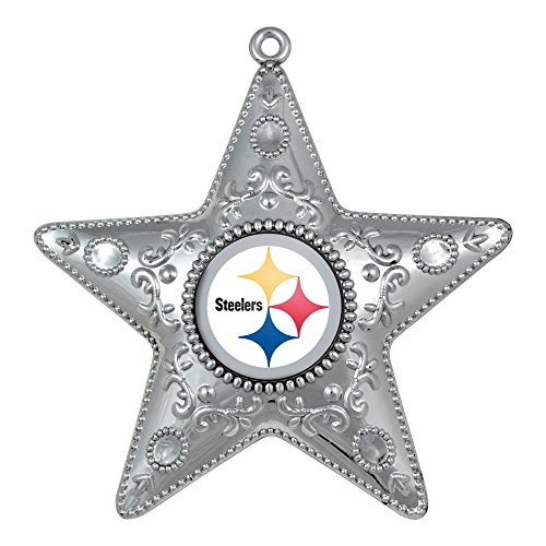 NFL Pittsburgh Steelers Silver Star Ornament, Small, (Pittsburgh Steelers Ornaments)