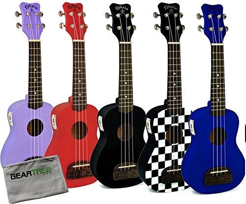 Genuine Checkerboard Green (Kohala Uke KT-ST Tiki Educator 5-Pack Soprano Ukulele Bundle w/Cloth)
