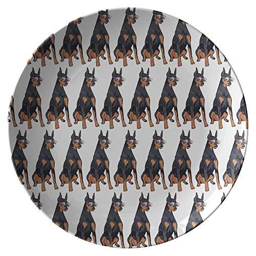 Doberman Pinscher Dog Dinner Plates, Dog Lover Mom Dad Gifts 9175A, Single Plate