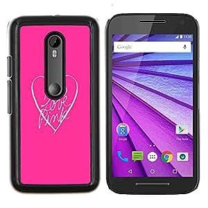Look rosa Corazón Limpio minimalista texto- Metal de aluminio y de plástico duro Caja del teléfono - Negro - Motorola Moto G (3rd gen) / G3