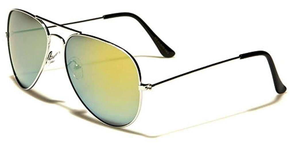 Classic Air Force Aviator Style Sunglasses Silver Color Mirror Sunrise