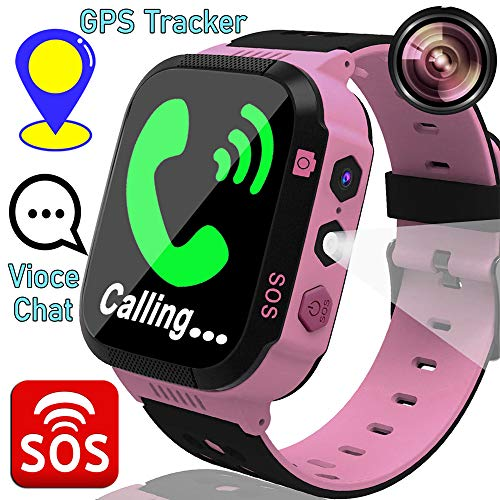 Kids Smart Phone Watches for 3-12 Ages Girls Boys Toddler GPS Tracker Two-Way Call SOS Voice Chat Alarm Flashlight Touch Screen Gizmo Games Camera Clock Children Wristband School Travel (pink) (Best Smartphone For Kids)