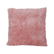 """18""""x18"""" Super Soft Plush Pillows With Fur Cushion Cover Home Bed Sofa - Pink"""