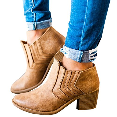 Maybest Women's 2017 Autumn Winter Chunky Low Heel Chelsea Round Toe Ankle Bootie A-Brown 9 B (M) US by Maybest