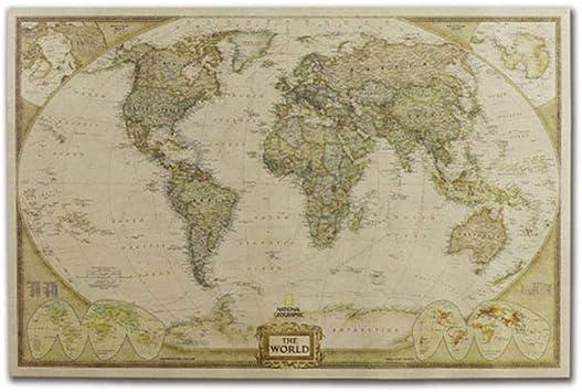 Mapa del Mundo, decoración de la Pared del Cartel del Papel de ...