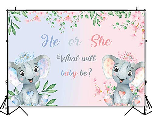 Funnytree 7x5ft Elephant Gender Reveal Party Backdrop Pink Blue Boy or Girl Baby Shower Flowers Photography Background He or She Gender Surprise Floral Cake Table Decorations Photo Booth -