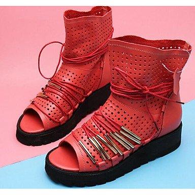 cuir tissu nbsp; Printemps été Almond casual confortable DESY 5 femme rouge pour bottes noir wSpw0Uaq