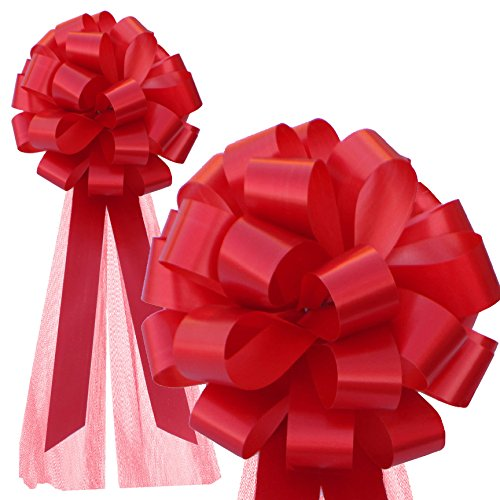 Red Wedding Pull Bows with Tulle Tails - 8 Wide, Set of 6