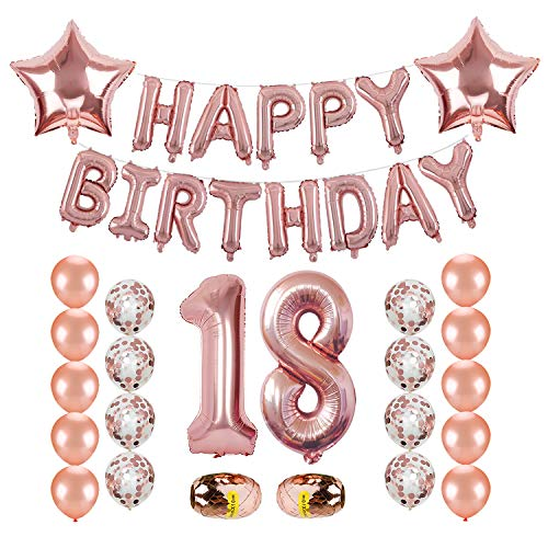 18th Birthday Decorations, Kwayi Rose Gold Balloon Birthday Supplies With HAPPY BIRTHDAY Letter, Balloon Ribbon, Large Number 18, Rose Gold Balloon And Confetti Balloon, Total 27PCS For Girl Birthday Party Supplies ()