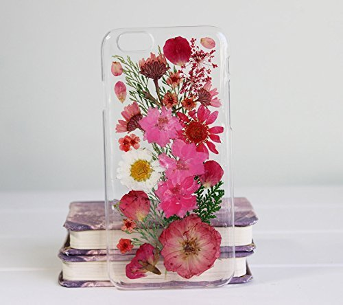 quality design 9ea5c e06fb Rebbygena Floral iPhone X Case for Women Real Pressed Red Flower Case  iPhone X Soft TPU Clear Case Custom Handmade Unique iPhone 10 Case for Women