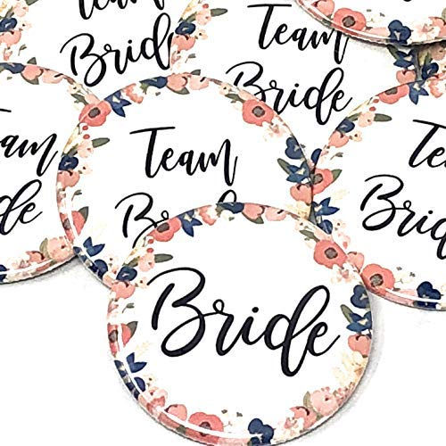 Team Bride Pins - Wedding Party Pins - White Background with Navy, Blush Floral, Design -