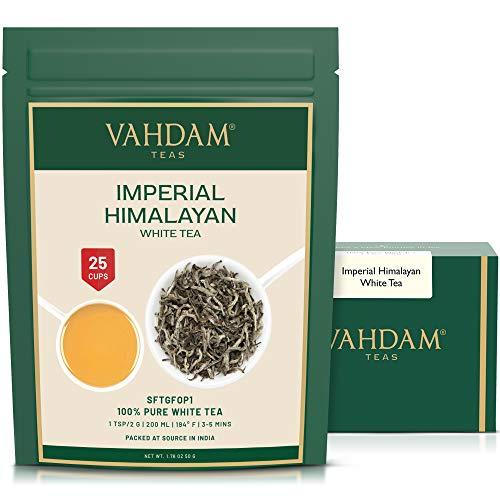 VAHDAM, Hojas de Te Blancas Imperiales de Himalaya (25 tazas) - Tipo de te mas saludable del mundo - Hojas blancas de te sueltas - Te de desintoxicacion y te adelgazante | te blanco ecologico, 50gr