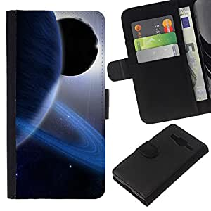 Planetar® Modelo colorido cuero carpeta tirón caso cubierta piel Holster Funda protección Para Samsung Galaxy Core Prime / SM-G360 ( Anillos de Saturn Planeta Azul Sistema Solar Sun extranjero )