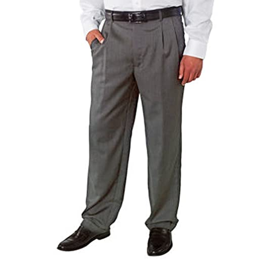 4fd874d09934 Kirkland Signature Men's Wool Pleated Dress Slack Pant (Light Grey, ...