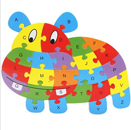 Fishinnen Colorful Wooden Animal Number and Alphabet Jigsaw Puzzle Educational Toy for Kids(Hippopotamus) by Fishinnen (Image #2)
