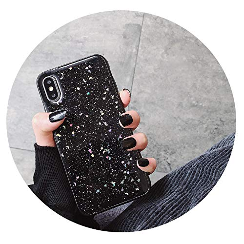 La Femme Clear Glitter - for iPhone 6 6s 7 8 Plus 10 X XS XR Max Bling Glitter Star Moon Sparkle Sequins Soft Clear Silicone TPU Phone Case Cover,Black,for iPhone 8