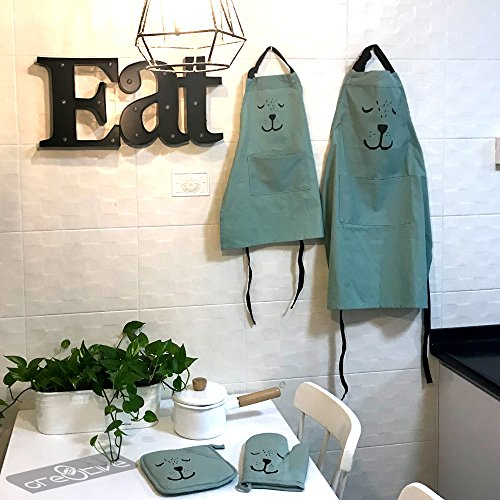 Cre8tivePick Cute Bear Apron For Adult & Child, Matching Apron + Oven Mitt + Pot Holder, Heat Resistant, Machine Washable, Kitchen Gift Set, Baking Gift Set, Parents and kids uniform set
