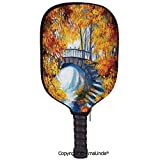 AmaUncle 3D Pickleball Paddle Racket Cover Case,Autumn Forest with A Bridge Over Road Dramatic Season Shady Leaves Print Decorative Customized Racket Cover with Multi-Colored,Sports Accessories