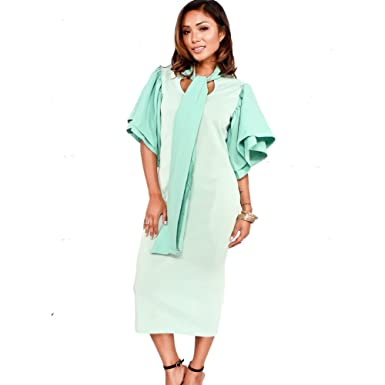 Bodycon4U Womens Ruffle Sleeve Bow-Tie Front Bodycon Elegant Cocktail Party Club Dress Green M