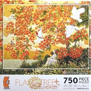 SATO FLAME TREE Shimmer 750 Piece Glitter Puzzle by Ceaco Shimmer Trees