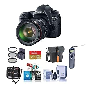 Canon EOS-6D Digital SLR Camera Kit with EF 24-105mm f/4L IS USM Lens - Bundle with 32GB SDHC Card, Camera Bag, 77mm Filter Kit, Cleaning Kit, Memory Wallet, Remote Shutter Trigger, Software Package