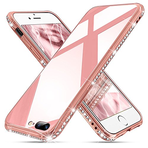 OCYCLONE [Tempered Glass iPhone 8 Plus Case, iPhone 7 Plus Case, Cute Pretty Glitter Diamond Rhinestone Bumper Pink Protective Girly Glass Case for iPhone 8 Plus / 7 Plus - Pink