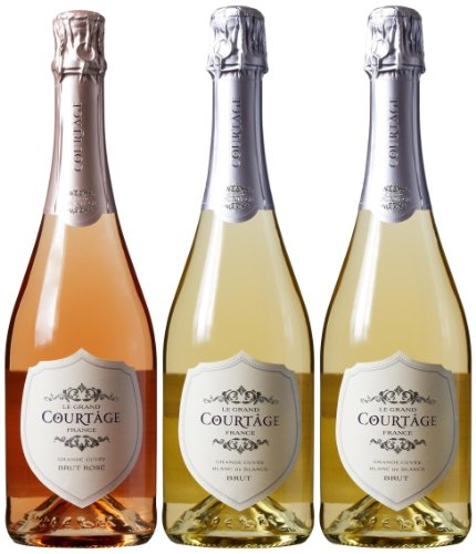 Le Grand Courtage French Sparkling Wine Mixed Pack, 3 x