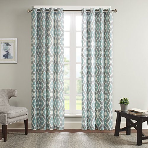 Aqua Curtains for Living Room, Modern Contemporary Window Curtains for Bedroom, Ashlin Geometric Fabric Grommet Window Curtains, 50X63, 1-Panel Pack ()