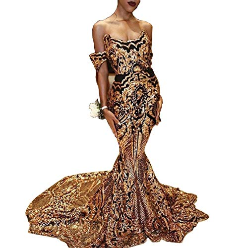(Aries Tuttle Gold Bling Bling Sequined Mermaid Women's Prom Evening Shower Dress Celebrity Party Gown)