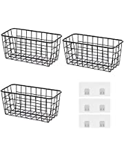 Yumxcl Sturdy Metal Wire Storage Basket, Storage Pantry Organizer Storage Baskets for Kitchen Cabinets, No Drilling Wire Wall Basket Organizer, Kitchen Pantry Bathroom Accessories, 3 Pcs (Black-3 PCS)
