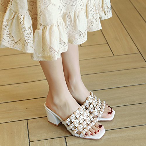 Karo Cut Pantolette Perlen Damen Clogs Zehen Blockabsatz Offene Aisun Muster Out Weiß ZS6t6xq