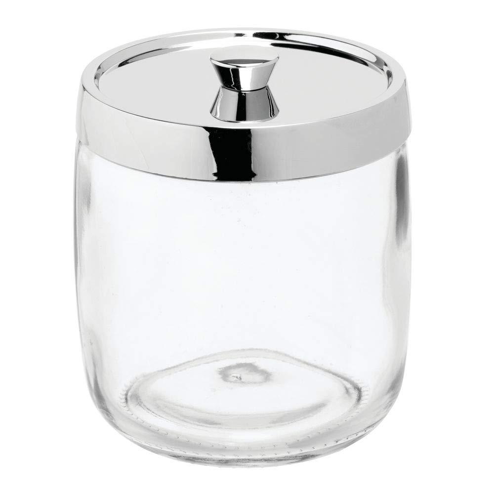 Barattolo per cotone dal design semplice Organizer con coperchio per dischetti di cotone mDesign Set da 2 porta cotone in vetro cotton fioc e batuffoli Trasparente//argento opaco
