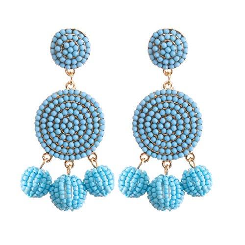 ELEARD Beaded Earrings Elegant Soriee Dangle Bead Disc Bead 3 Ball Dangle Ear Drop Bead Tassel Earrings for Women Girl Light Blue (Bead Earrings Acrylic)