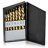 Neiko 10037A Left Hand Drill Bit Set, 15 Piece | M2 HSS With Titanium Nitride Coating | SAE (1/16'' - 1/2'')