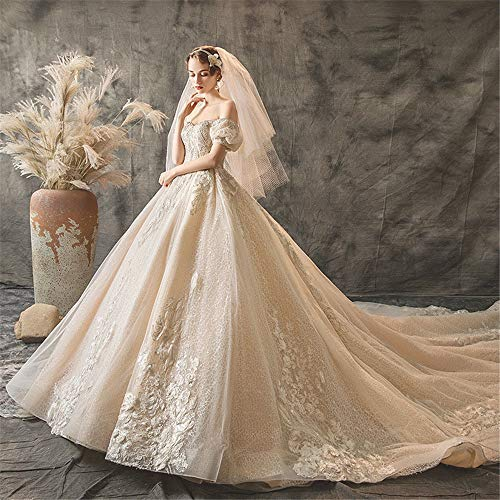 GLMPQ Women's Wedding Dress Lace V Neck Wedding Dress Shining Bridal Dresses One Word Shoulder Wedding Dress for Wedding (Color : Champagne, Size : M)