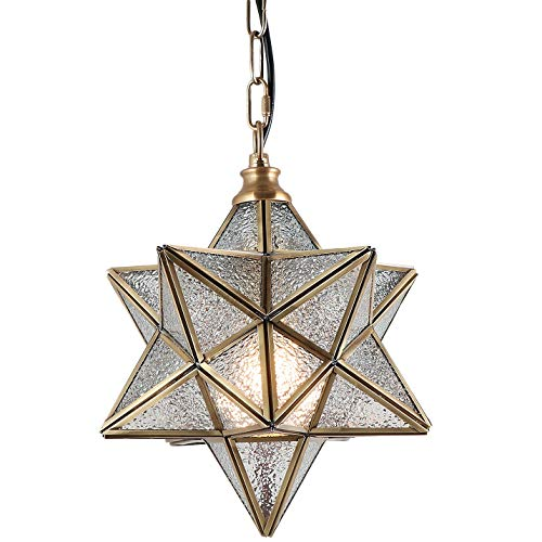 Eumyviv Moravian Star Pendant Light with Textured Ripple Glass Cover, Vintage Chandelier Lamp Rustic Industrial Edison Hanging Light Retro Ceiling Light Fixture 1-Light, Brassy (P0024) (Light Ceiling Fixture Star Shaped)