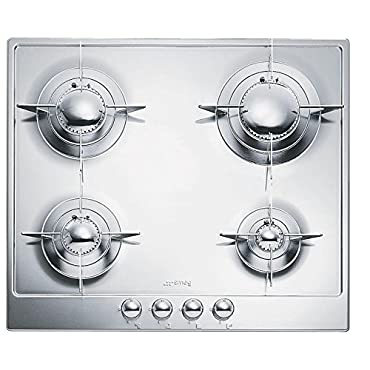 Smeg PU64ES 24 Piano Design Gas Cooktop, 4 Burners, Stainless Steel